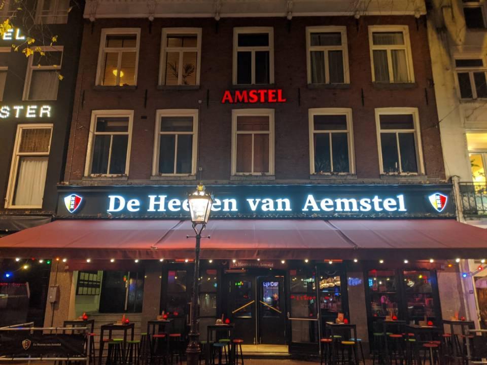 Facade of De Heeren van Aemstel Bar and Club in Amsterdam